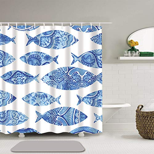 Abili Shower Curtain Watercolor Fish Sea Fishes Blue Pattern Bathroom Decor Waterproof Polyester Fabric 72 x 72 Inches Set with Hooks