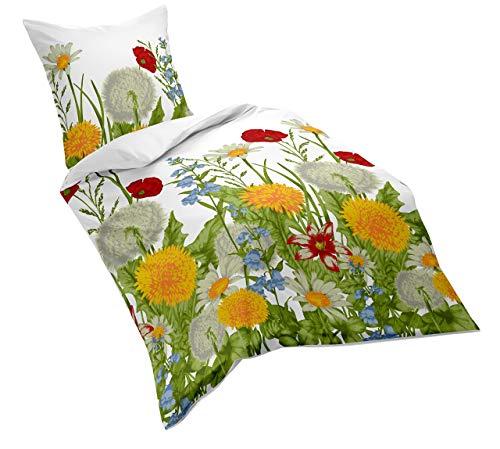 Fleuresse Mako-Satin-Bettwäsche, sommerliche Blumenwiese, 135 x 200 cm, bunt