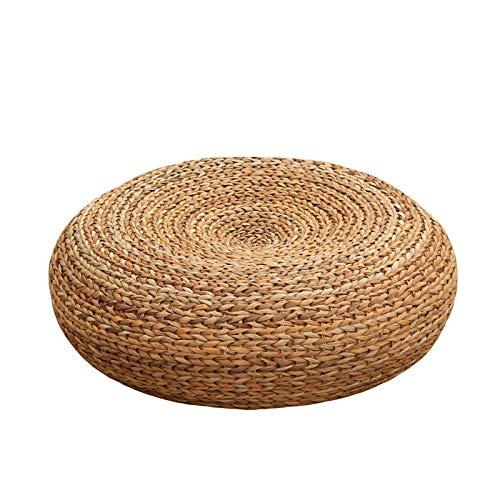 Yodensity - Cojín de asiento de paja de punto acolchado y transpirable, hecho a mano, con cojín de corteza de plátano, otomano, asiento de piso, muebles de tatami