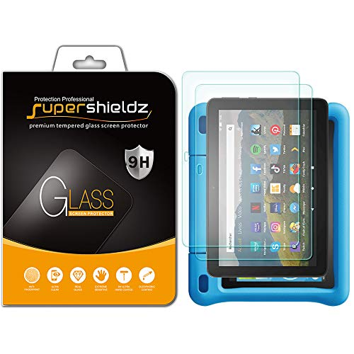 (2 Pack) Supershieldz for All-New Fire HD 8 / HD 8 Plus and Fire HD 8 Kids Edition Tablet 8 inch (10th Generation - 2020 Release) Tempered Glass Screen Protector, Anti Scratch, Bubble Free