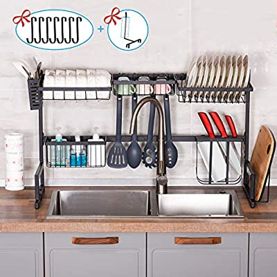 Over the Sink Dish Drying Rack,2 Tier Dish Rack Kitchen Utensil Holder,Dish Drainer Kitchen Organization and Storage,Kitchen Counter Orgainzer with 7 Utility Hooks,Stainless Steel Paint Kitchen Rack by