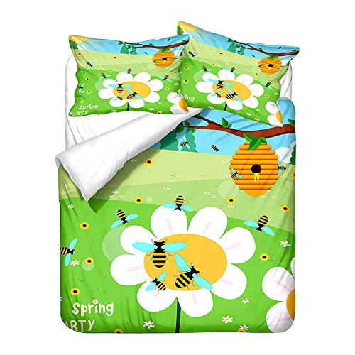 Chickwin Duvet Cover Set 3D, Yellow Bee Print 3 Piece Bedding Set with Zipper Quilt Cover and Pillowcases (50x75cm) for Bedroom Single Double King & Super King Size (Bee Nest,135x200cm)