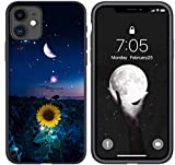 Compatible with iPhone 11 Case, Sunflowers Under Moon at Night Designed for iPhone 11 Case, Slim Fit Shockproof Drop Protection Phone Case Cover for iPhone 11 6.1 inch (Sunflower Moon)