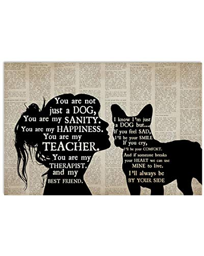 French Bulldog Inspirational Wall Art - Satin Matte Finish - Dog Friendship Vintage Posters for Room Aesthetic Posters 24x36 Series 5