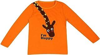 K-Youth de 1 a 7 años Ropa Bebe Niño Otoño Invierno Patrón de Jirafa Camiseta Manga Larga Bebe Blusa de Niños Ropa para Ni...