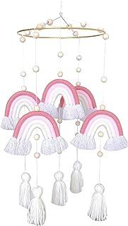 SEIMOO Rainbow Hanging Handmade Weaving Ornament Nordic Baby Kids Room Wall Decor Baby Rattle Mobile Toys Crib Toy-1