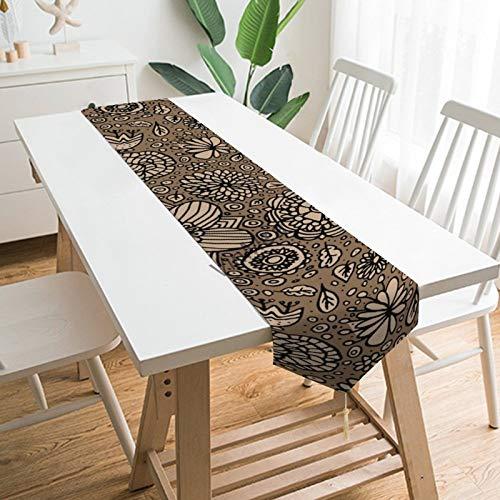 YY-one Camino de mesa estilo granja beige floral sobre marrón Navidad Camino...