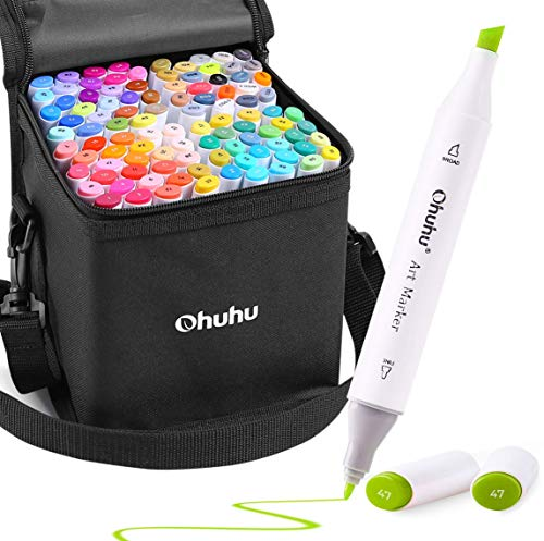 100 Colors Alcohol Art Markers, Ohuhu Double Tipped Coloring Marker Set, Comes with 1 Colorless...