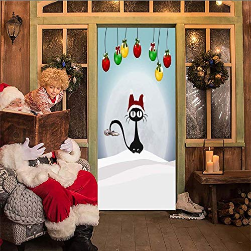 IKPHQF Boys Girls 3D Door Stickers For Bedrooms Snow Cartoon Black Cat Bell 77X200CM Waterproof Self Adhesive Art Door Decals Poster Wallpaper Kitchen Bathroom Home Decor Vinyl Stickers Removable Mura