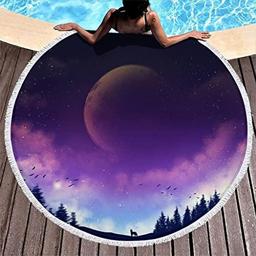Tobgreatey Toalla de playa redonda con borlas Fantasy Kitsune Wald Planet Multiusos Playa de Viaje para Mujeres Blanco 150 cm