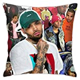 Bedding Throw Chris Brown Pillow Case 18 x 18 Inches Bed and Couch Pillows - Indoor Decorative Pillows (NO Pillow Inserts)