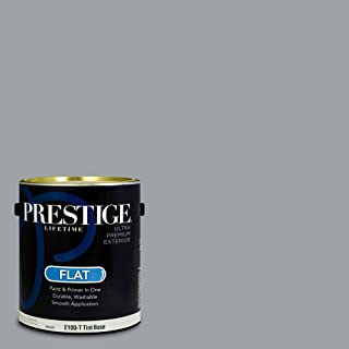 Prestige Paints E100-T-MQ5-30 Exterior Paint and Primer in One, 1-Gallon, Flat, Comparable Match of Behr Silent Film, 1 Gallon, B115-Silent
