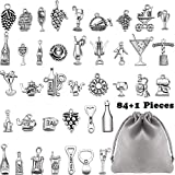 85 Pieces Wine Themed Charms Craft Wine Grape Cocktail Shape Charms Silver Necklace Bracelet Pendants with a Storage Bag for Jewelry Making