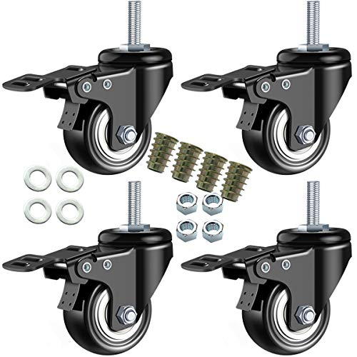 DICASAL 2 Inch Stem Casters, Heavy Duty Swivel Stem Casters PU Foam Quite Mute No Noise Castors Markless Wheels Double Bearings and Locks Loading 330 Lbs Pack of 4 with Threads 3/8'-16x1' and Brakes