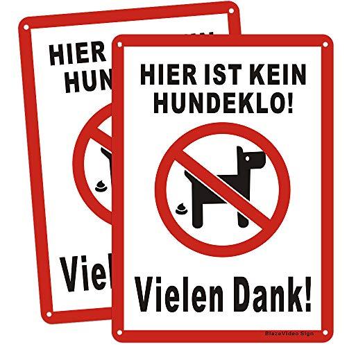 2tlg. Kein Hundeklo Keine Hundetoilette Schilder Hundeverbotsschild, Aluminium Schild Verbot Hundeklo/Hundekot/Hundehaufen/Hundekacke(180 * 250mm)