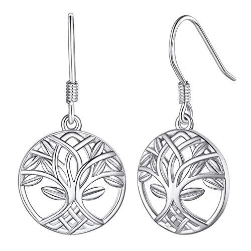 Silvora Dangling Earrings for Women Celtic Knot Tree of Life Drop Earrings for Girls Sterling Silver Jewelry