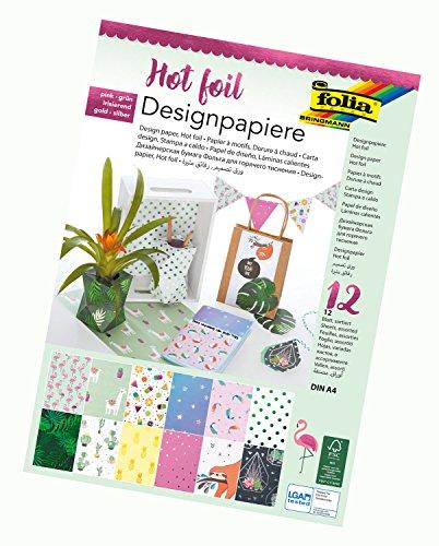 folia 11649 - Designpapier Block Hotfoil II, DIN A4, 165 g/qm, 12 Blatt - hochwertig illustriertes Papier mit Heißfolienapplikation