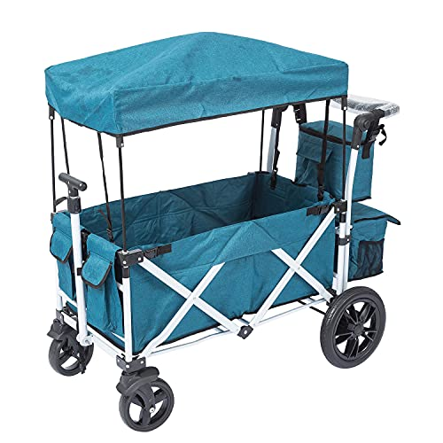 unknown folding wagons PA Collapsible Folding Wagon Foldable Outdoor Beach Shopping Garden Cart with Wheels Push Or Pull Blue Large Size