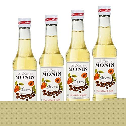 MONIN Sirop de Amaretto par 4 pour Cocktail et Cocktail sans Alcool - Arômes Naturels - 25cl