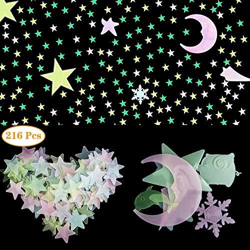NATEE 216pcs Pegatinas Luminosas Estrellas Fluorescentes, Pegatinas Brilla Oscuridad Brilla 10 Horas Decoración de Dormitorio Pared Fiesta para Niños Estrella Luna Color Mezcla Buen Sueño