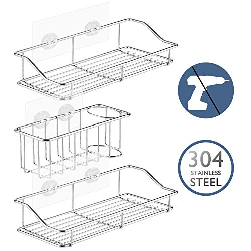 Lagute 3-Pack Shower Caddy with Adhesive, Kitchen Shelf, Sink Caddy, Sponge Soap Brush Holder, 304 Stainless Steel No Drilling Strong Shower Caddies Racks Storage Organizers Wall Mounted, 3 Sets