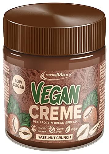 IronMaxx Vegan Protein Creme Low Sugar Schokoladenaufstrich, Geschmack Haselnuss Crunch, 250 g (1er Pack)