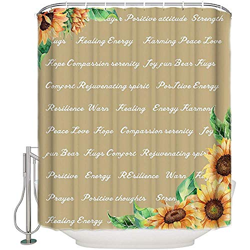 Not applicable Warme Umarmung Positive Inspirierende Zitate Sonnenblumenstoff Duschvorhang Khaki Badezimmer Dekor Sets Mit Haken,72X72 In