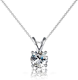 Cate & Chloe Faye Loyal Solitaire Pendant Necklace, Women's 18k White Gold Plated Necklace with Large Sparkling Solitaire ...