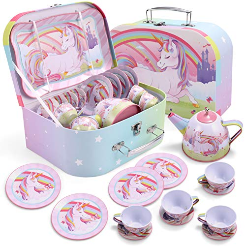 JOYIN Unicorn Castle Pretend Tin Teapot Set for Tea Party and Kids Kitchen Pretend Play