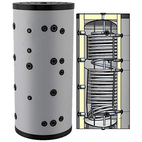 Hygienespeicher, Boiler mit Edelstahlwellrohr zur legionellenfreien Trinkwasseraufbereitung mit 2 zusätzlichen Wärmetauschern, Pufferspeicher, Trinkwasserspeicher 1000 Liter