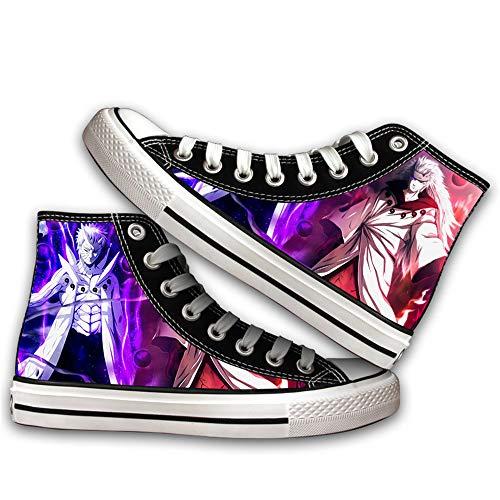 JPTYJ Uzumaki Naruto Uchiha Sasuke/Kakashi Zapatos Altos Unisex Zapatos Casuales de Anime Zapatos de Lona para Estudiantes Zapatillas de Deporte de la Escuela Secundaria C-40
