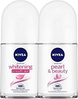 NIVEA Deodorant Roll-on, Whitening Smooth Skin, 50ml and NIVEA Anti-Perspirant Roll-On, Pearl & Beauty, 50ml
