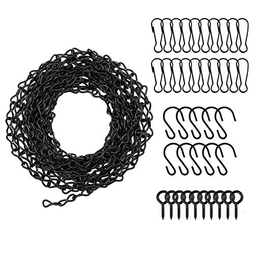 Lechansen 196 Inches Hanging Chains, Black Chain with 10 Hooks and 20 Clips& 10 Screw eye hook for Hanging Bird Feeders, Birdbaths, Planters, Billboards, Chalkboards, Lanterns and Ornaments