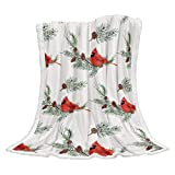 Yunnist-Store Cozy Sherpa Fleece Throw Blanket Cardinal Birds with Pine Cones Leaves Super Soft Plush Microfiber Throws, Christmas Warm Fuzzy Blankets for Bed Sofa Couch Decor