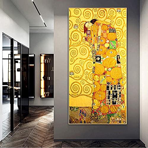 Reproducciones famosas Pintura de arte de pared Gustav Klimt Mujer dorada Pintura de lienzo Carteles e impresiones Imágenes Sala de estar 30x72cm Sin marco