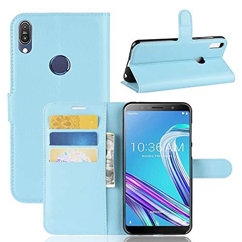 Litchi Texture Horizontal Flip Funda de Cuero for ASUS Zenfone MAX Pro (M1) ZB601KL, con Billetera y Soporte y Ranuras for Tarjetas (Color : Blue)