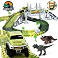 Aduarjo Dinosaur Toys,158pcs Dinosaur World Road Race, Flexible Track Playset Toy Cars and 2 pcs Cool Dinosaur T-Rex, Triceratops Awesome Gifts Kids Toy for 3 4 5 6 Year & Up Old boy Girls Best Gifts