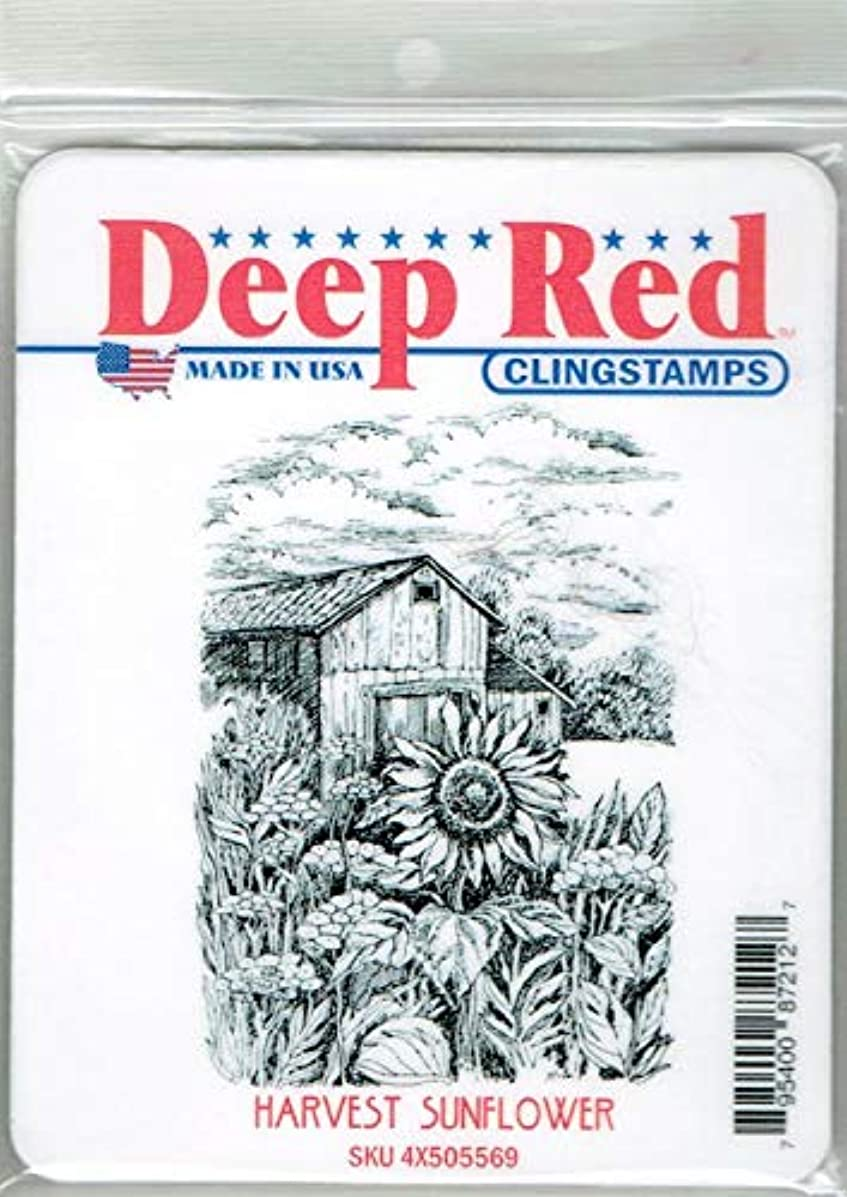 Deep Red Harvest Sunflower Rubber Cling Stamp
