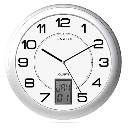Unilux Instinct 100340853 Wandklok, kwarts-systeem, automatische zomer-wintertijd, digitale datumweergave, datum/maand of minuut, Ø 30,5 cm, metaalgrijs