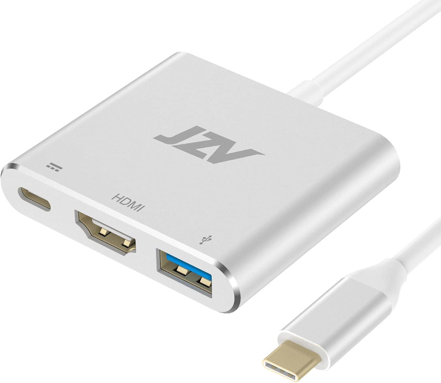 JZV HDMI to USB C,USB Type C HDMI Adapter MacBook pro Accessories USB C to HDMI Adapter with 4K HDMI USB 3.0 Port USB C Charging Port USBC hdmi Compatible for MacBook Pro MacBook Air iPad Pro