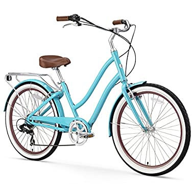 sixthreezero EVRYjourney Women's 7-Speed Step-Through Hybrid Cruiser Bicycle, Teal w/Brown Seat/Grips, 26  Wheels/ 17.5  Frame