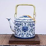Tetera de porcelana azul y blanca de 750 ml, diseño de artista de primer nivel de China, olla de arena de cerámica, juego...