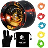 MAGICYOYO Y01 Node Professional Unresponsive Yoyo, Long Spinning Time Prettiest Yoyo with Glove, Yoyo Bag and 5 Replacement Yoyo Strings (Black Splash Golden&Red)
