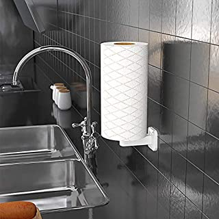 UniHome Wall Mount Paper Towel Holder & Dispenser, Self-Adhesive No Drilling Removable Tissue Paper Towel Roll Holder for ...