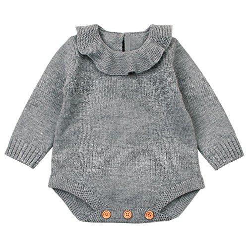 Ropa bebé, Recién Nacido bebé niño niña Mameluco de Punto Mono Trajes Ropa Conjuntos (Gris, Tamaño:0-6Mes)