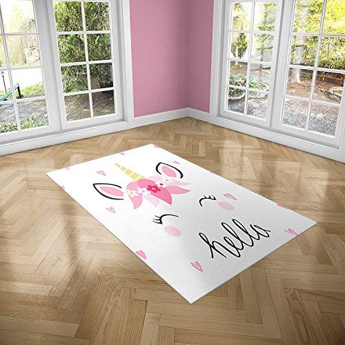 Oedim Alfombra Infantil Unicornio con Corazones para Habitaciones PVC | 95 x 133 cm | Moqueta PVC | Suelo vinílico | Decoración del Hogar | Suelo Sintasol | Suelo de Protección Infantil |
