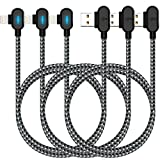 iPhone Charger Cable, 3Pack LED Right Angle Lightning Cable 90 Degree Nylon Braided Charging Cord Gaming USB Charging/Sync Compatible with iPhone12/11/XR/X/8 8Plus/7/7 Plus/6(10FT)