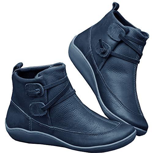 Blivener Damen Arch Support Stiefel wasserdichte Stiefeletten Vintage Stiefeletten Flache Stiefel Anti Rutsch Bequeme Booties Blau 38 EU