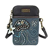 Chala Dazzled Crossbody Cell Phone Purse - Women Faux Leather Multicolor Handbag with Adjustable Strap - Jellyfish Navy