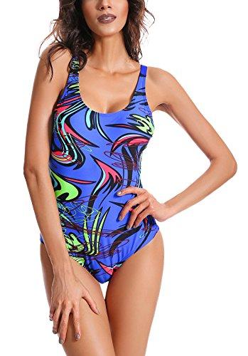 FEOYA - Swimwear para Mujer Traje de Natación de Una Pieza 2018 con Tirantes Ajustables Sexy Bañador Entero de Talla Grande - Azul - ES 46